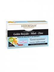 Herbesan Gelée Royale Miel Zinc dès 4 Ans 20 Ampoules - Boîte 20 ampoules