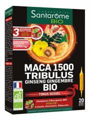 Santarome Bio Maca 1500 Tribulus Ginseng Gingembre Bio Tonus Sexuel 20 Ampoules - Boîte 20 ampoules x 10 ml