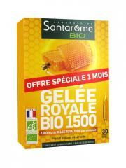 Santarome Bio Gelée Royale Bio 1500 30 Ampoules - Boîte 30 ampoules x 10 ml