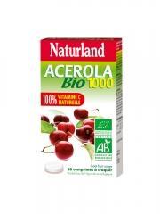 Naturland Acérola Bio 1000 30 Comprimés à Croquer - Boîte 2 tubes de 15 comprimés