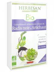 Herbesan Bio Radis Noir Artichaut Digestion 20 Ampoules de 15 ml - Boîte 20 Ampoules de 15 ml