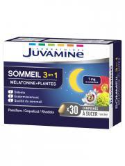 Juvamine Sommeil 3en1 Mélatonine + Plantes 30 Comprimés à sucer - Boîte 30 Comprimés