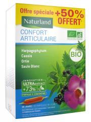 Naturland Confort Articulaire Bio 20 Ampoules Buvables de 10 ml + 10 Ampoules Offertes - Boîte 30 ampoules de 10 ml