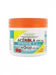 Herbesan Acérola 1000 mg Vitamine C 180 mg + Goji 125 mg 90 Comprimés - Pot 90 Comprimés