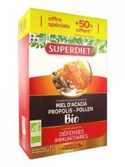 Super Diet Miel d'Acacia Propolis Pollen Bio 20 Ampoules + 10 Ampoules Offertes - Boîte 30 ampoules