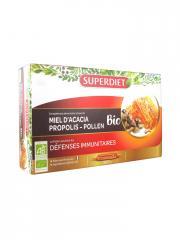 Super Diet Miel d'Acacia Propolis Pollen Bio 20 Ampoules - Boîte 20 Ampoules de 15 ml