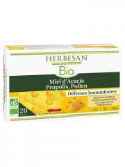 Herbesan Bio Miel d'Acacia Propolis Pollen 20 Ampoules - Boîte 20 Ampoules de 15 ml