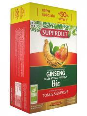 Super Diet Ginseng Gelée Royale et Acérola Bio 20 Ampoules + 10 Ampoules Offertes - Boîte 30 ampoules