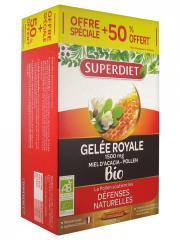 Super Diet Gelée Royale Miel d'Acacia Pollen Bio 20 Ampoules + 10 Ampoules Offertes - Boîte 30 ampoules de 15 ml