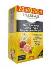 Herbesan Miel Gelée Royale Acérola Pollen Pamplemousse Propolis 20 Ampoules + 10 Offertes - Boîte 450 ml