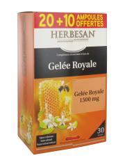 Herbesan Gelée Royale 1500 mg 20 Ampoules + 10 Offertes - Boîte 30 ampoules