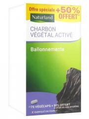 Naturland Charbon Végétal 75 Végécaps + 38 Végécaps Offertes - Boîte plastique 75 végécaps + 38 végécaps offertes