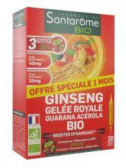 Santarome Bio Ginseng Gelée Royale Guarana Acérola Bio 30 Ampoules - Boîte 30 Ampoules de 10 ml