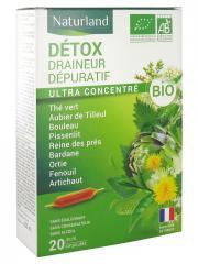 Naturland Détox Draineur Dépuratif Bio 20 Ampoules Buvables de 10 ml - Boîte 20 Ampoules de 10 ml