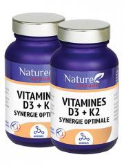 Nature Attitude Vitamine D3 + K2 Synergie Optimale Lot de 2 x 60 Gélules - Lot 2 x 60 gélules