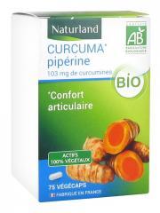 Naturland Curcuma Pipérine Bio 75 Végécaps - Boîte 75 végécaps