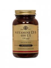 Solgar Vitamine D3 400 UI (10 µg) 100 Gélules - Flacon 100 gélules