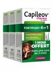 Nutreov Capileov Cheveux & Ongles Fortifiant 4en1 3 x 30 Gélules - Lot 3 x 30 gélules