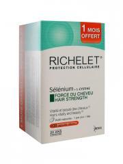 Richelet Protection Cellulaire Sélénium + L- Cystine Force du Cheveux 90 Capsules Offre Spéciale - Boîte 90 Capsules