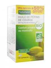 Naturland Huile de Pépins de Courge Bio 90 Capsules + 45 Capsules Offertes - Pot 135 capsules