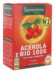 Santarome Bio Acérola Bio 1000 20 Comprimés - Boîte 2 tubes de 10 comprimés à croquer