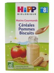HiPP Matins Gourmands Céréales Pommes Biscuits dès 8 Mois Bio 250 g - Boîte 250 g