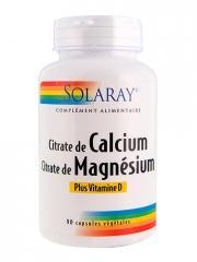 Solaray Citrate de Calcium Citrate de Magnésium 90 Vitamine D Capsules Végétales - Boîte 90 Capsules Végétales