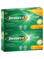 Berocca Énergie Goût Orange 60 Comprimés Effervescents Sans Sucres Pack Eco - Boîte 2 x 30 comprimés effervescents
