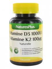 Natures Plus Vitamine D3 1000 UI + Vitamine K2 100 µg 90 Comprimés - Pot 90 comprimés