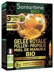 Santarome Bio Gelée Royale Pollen Propolis Miel de Manuka Bio 20 Ampoules - Boîte 20 ampoules de 10 ml