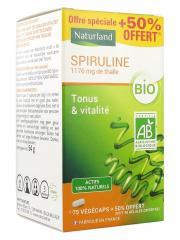 Naturland Spiruline Bio 75 Végécaps + 38 Végécaps Offertes - Pot 113 végécaps