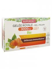 Super Diet Gelée Royale 3000 mg Miel Pollen Bio 20 Ampoules - Boîte 20 ampoules de 15 ml