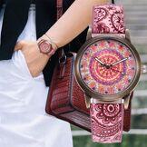 Happy Watches Montre à Quartz Femme Mandala