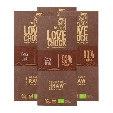 Lovechock 4 x Lovechock Chocolat Cru Bio, 93 % Cacao
