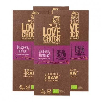 Lovechock, Tablettes de chocolat bio, myrtille & chanvre