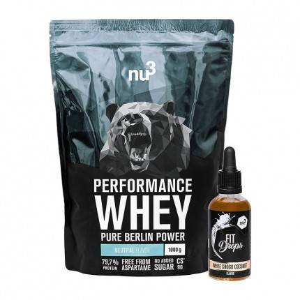 nu3, Whey Performance Neutral + Fit Drops, Chocolat blanc - Coco