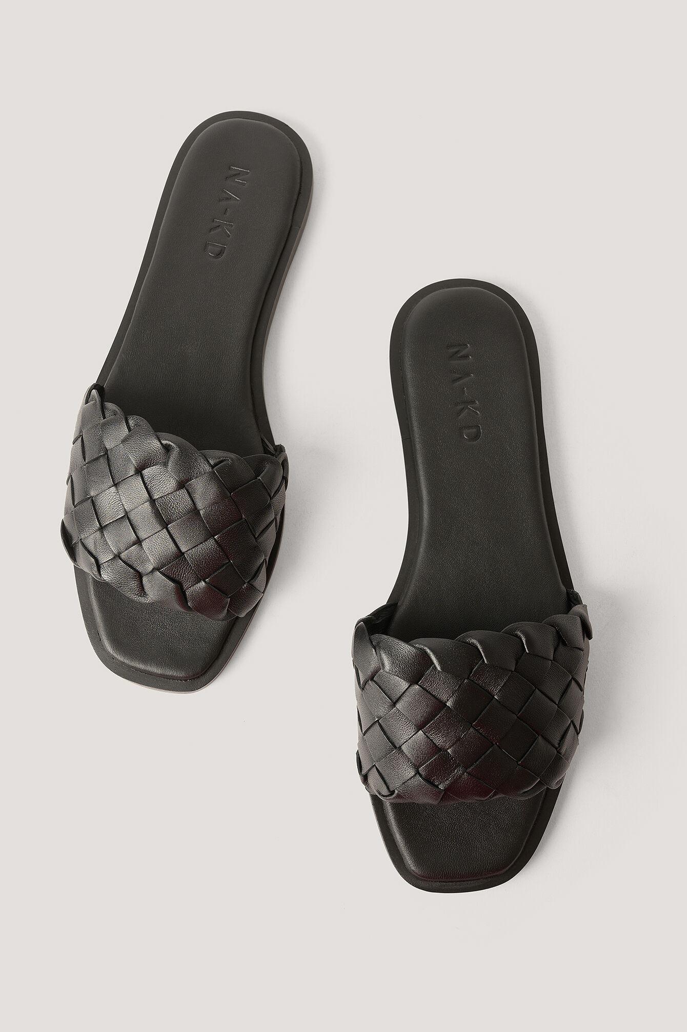 NA-KD Shoes Chaussons En Cuir Tressé - Black
