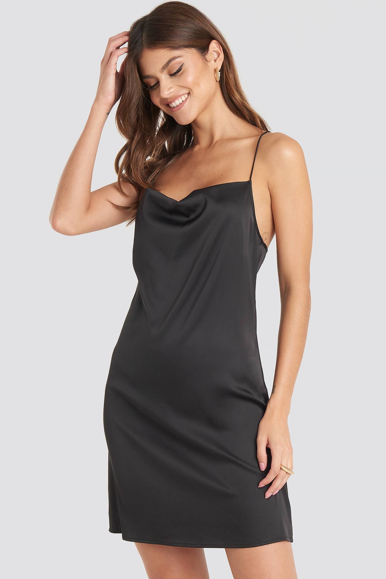 NA-KD Party Satin Waterfall Mini Dress - Black