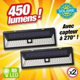 OUTIROR Lot de 2 - Projecteur solaire détecteur de mouvement - 80 LED