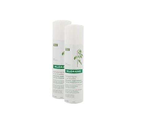 Klorane Shampooing au lait sec d'avoine pour cheveux foncés 2x150ml
