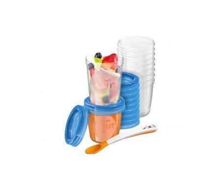 Philips Avent Avent Récipients à lait maternel 10x180ml + 10x240ml + 10x240ml + 10x240ml + 20 couvercles + cuillère 1 livret de recettes