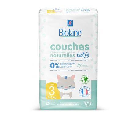 Biolane Couches Naturelles Bébé Taille 3 4-9kg 52 Unités