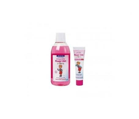 Kin Fluor-Kin Bain de bouche enfant fraise 500ml + Fluor-Kin Dentifrice enfant fraise 50ml