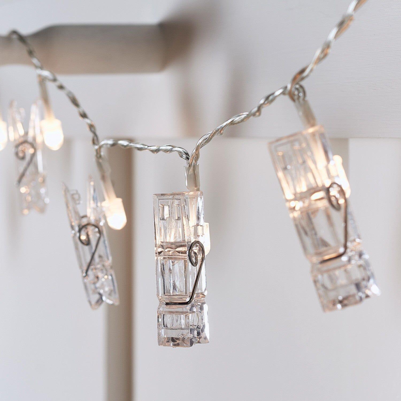 Guirlande Lumineuse LED à Piles avec 20 Pinces à Linge