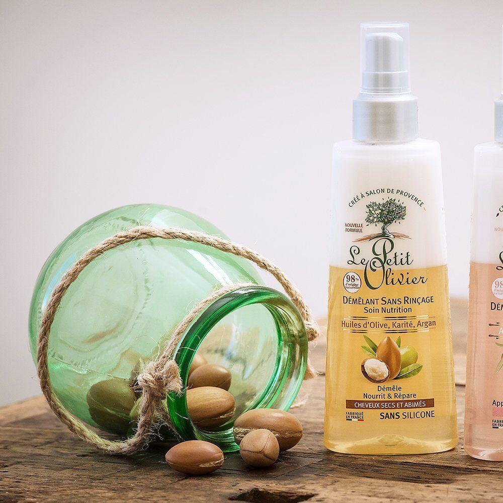 Le Petit Olivier Démêlant Sans Rinçage Soin Nutrition - Huiles d'Olive, Karité, Argan - Cheveux Secs et Abîmés