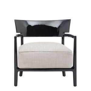 Kartell Chaise Cara Solid Color / Tissu - Kartell noir,beige en matière plastique