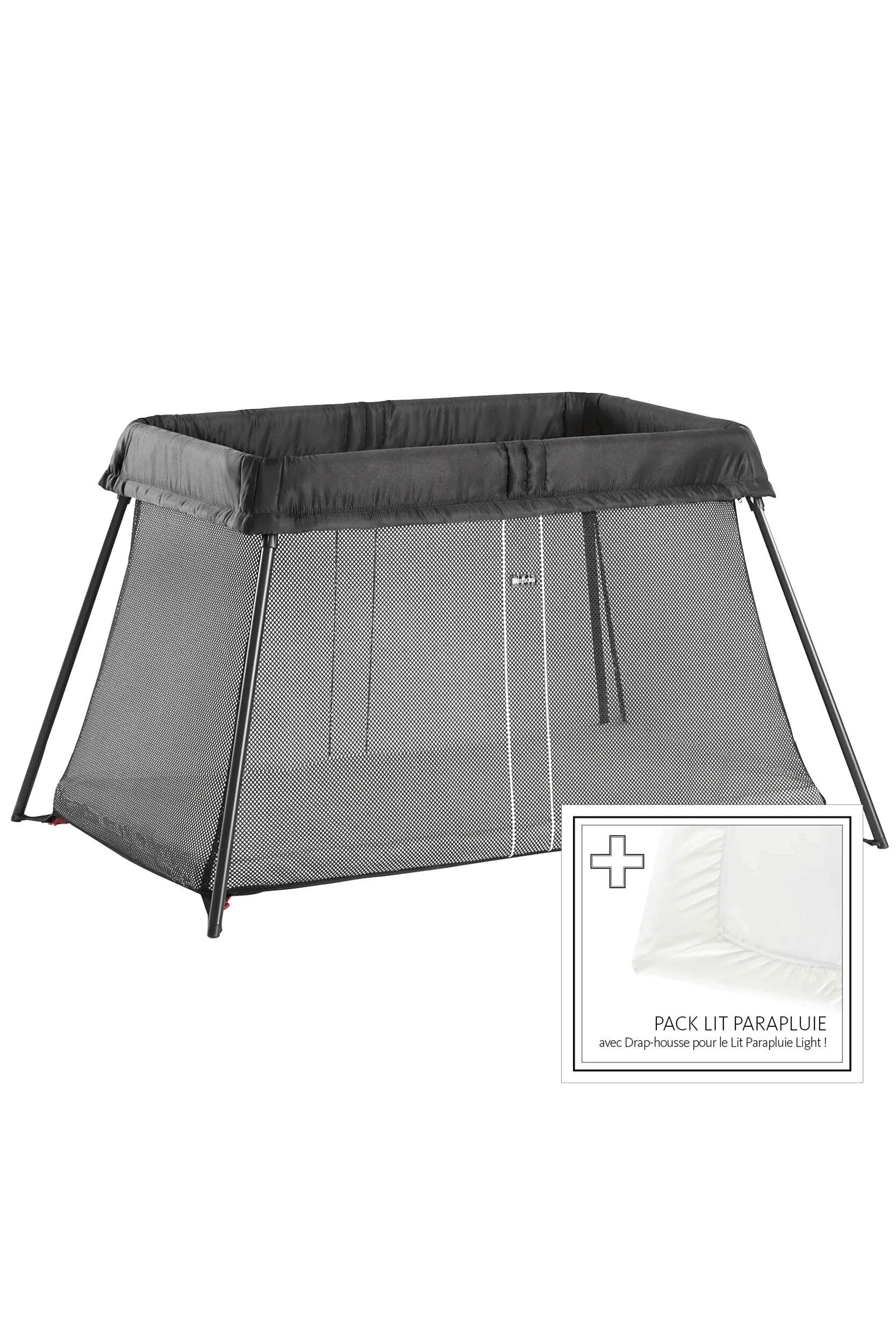 BABYBJÖRN Lit Parapluie Light - Noir, avec Drap-housse