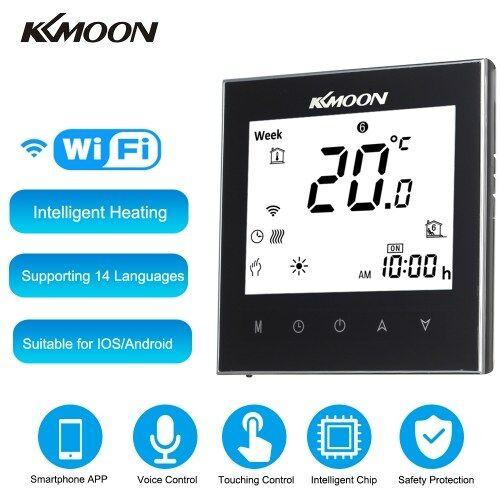 KKmoon Thermostat numérique pour l'eau de chauffage avec connexion WiFi et commande vocale Économie d'énergie CA 95-240V 5A Écran tactile Écran LCD Contrôleur de température ambiante Fonctionne avec Amazon Alexa / Google Assistant / IFTTT