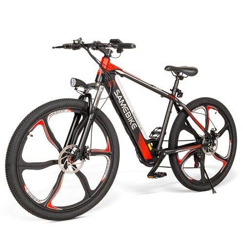 Samebike vélo électrique à assistance électrique de 26 pouces avec moteur sans balais 350W E-Bike avec double freins à disque Suspension fourche avant