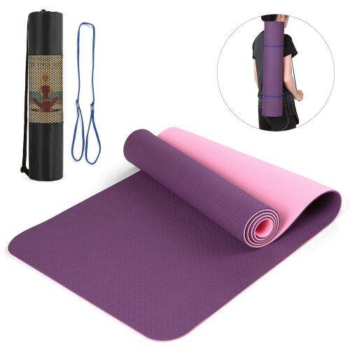 other 72.05 × 24.01in Portable Double tapis de yoga bicolore épaissir le tapis de sport tapis d'exercice antidérapant pour les entraînements de remise en forme avec sangle de transport et sac de rangement